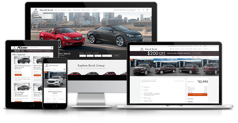 Example GM Website Shown on Different Devices